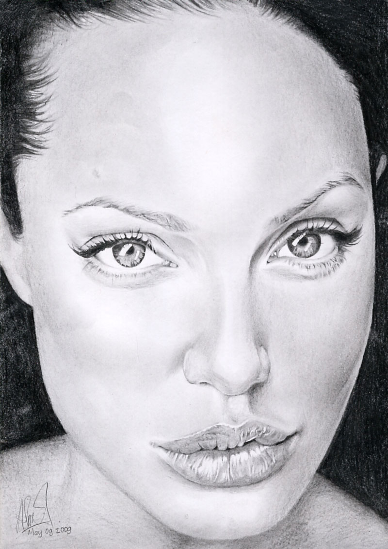 Angelina Jolie Cat Eye Drawing By Riefra