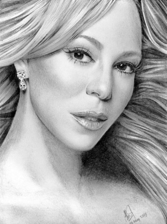 Mariah Carey Glamor Drawing by riefra