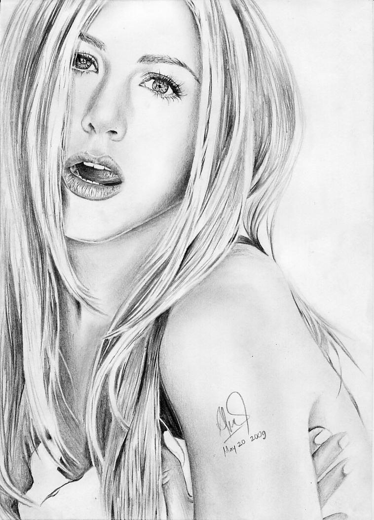 Jennifer Aniston cute drawing by riefra
