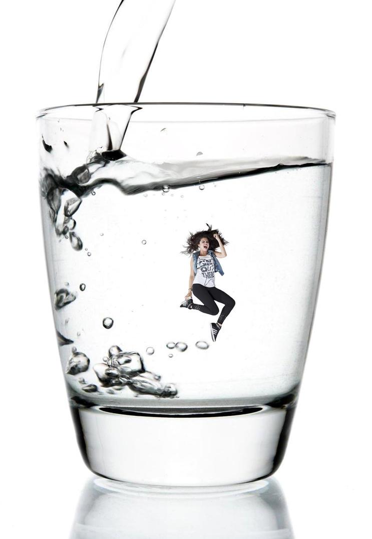 Shrunken Selena Gomez in a Glass of Water! by randomstuff126
