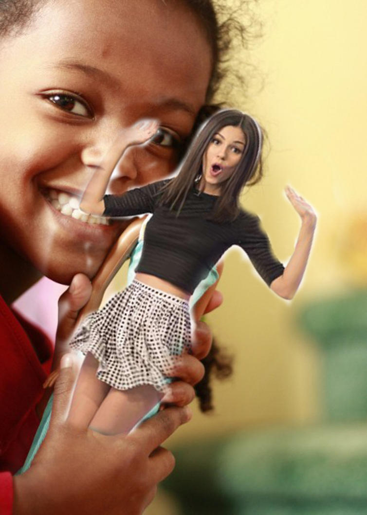 Shrunken Victoria Justice becomes a dolly! by randomstuff126