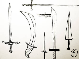 Inktober 2017 #6 - Swords and Daggers by doktorno