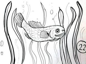 Inktober 2017 #22 - Fish by doktorno
