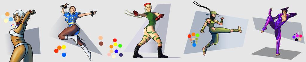 Montage of Street Fighter rough fanart