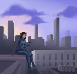 Cyborg catgirl at the morning.