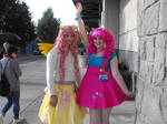 Pinkie Pie and Flutterguy cosplays