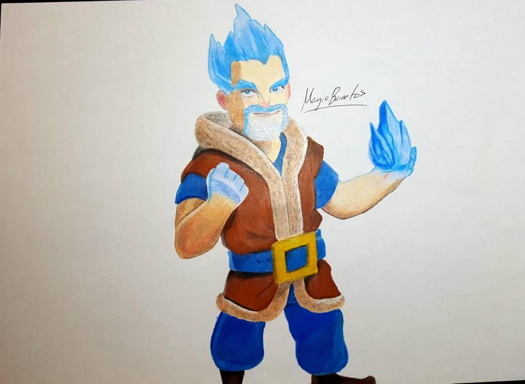 Dibujando Al Mago Eléctrico: Ice Wizard Of Clash Royale By MagicBocetos On DeviantArt