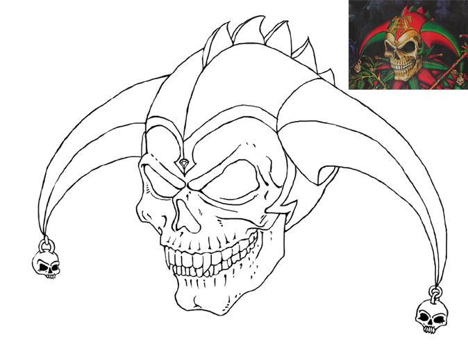 Jester Skull Drawings | Car Interior Design