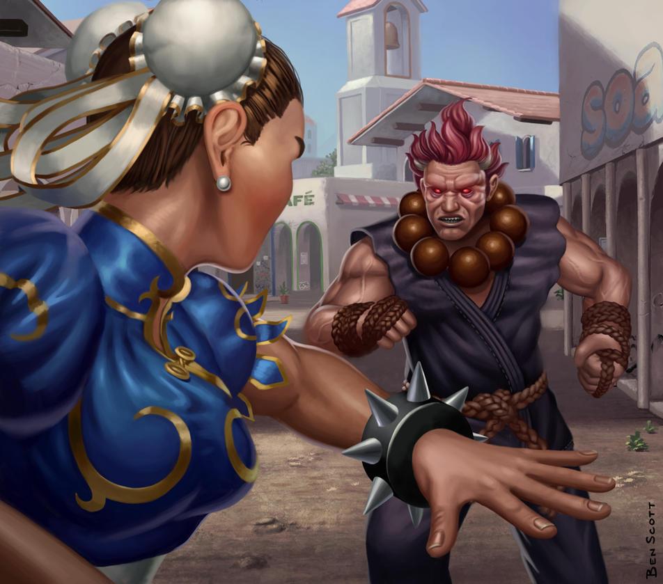 Chun Li vs Akuma by benscott81