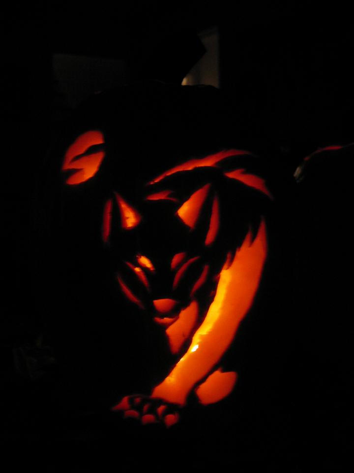 Pumpkins wolf carving by the black on deviantart