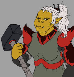 Black guard, half-orc female