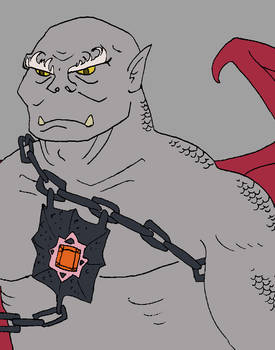Red dragon disciple, half-orc male