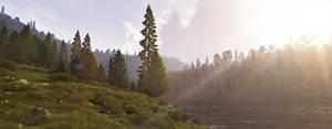 A meadow by the river by villekroger
