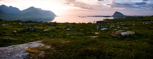 An evening on shore of the Norwegian Sea