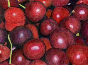 color pencil - cherries