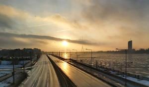 January morning. Riga from the train window