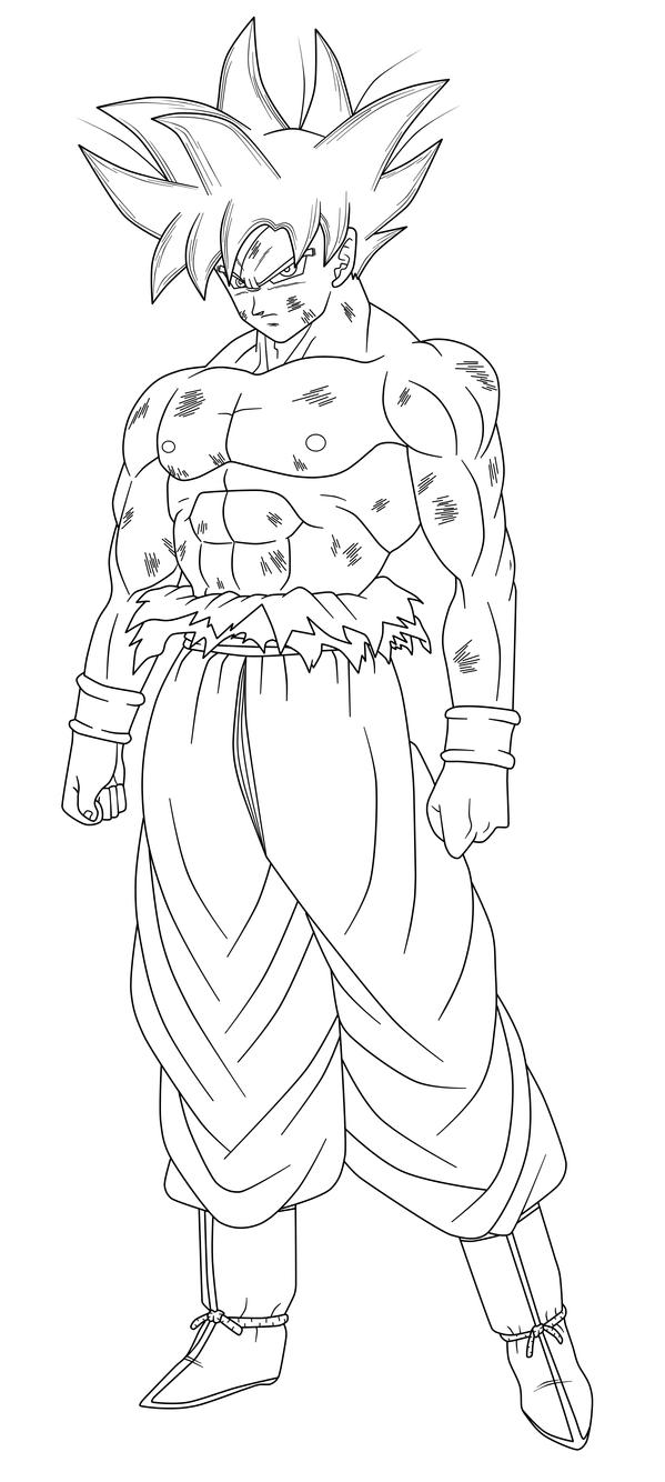 Line Art Vs No Line Art : Goku limit breaker lineart by hiroshiianabamodder on