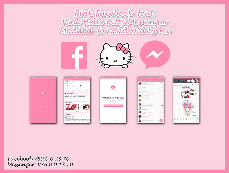 Pink Hello kitty Facebook feat messenger Android by LadyPinkilicious
