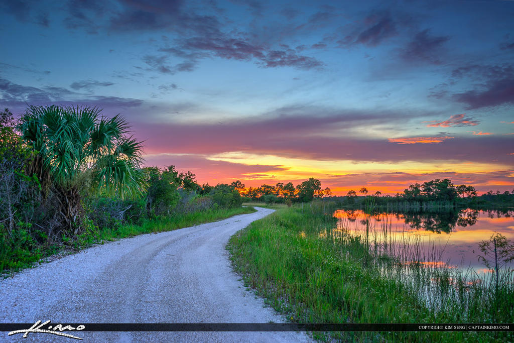 Martin County Florida Dirt Road Sunset By CaptainKimo