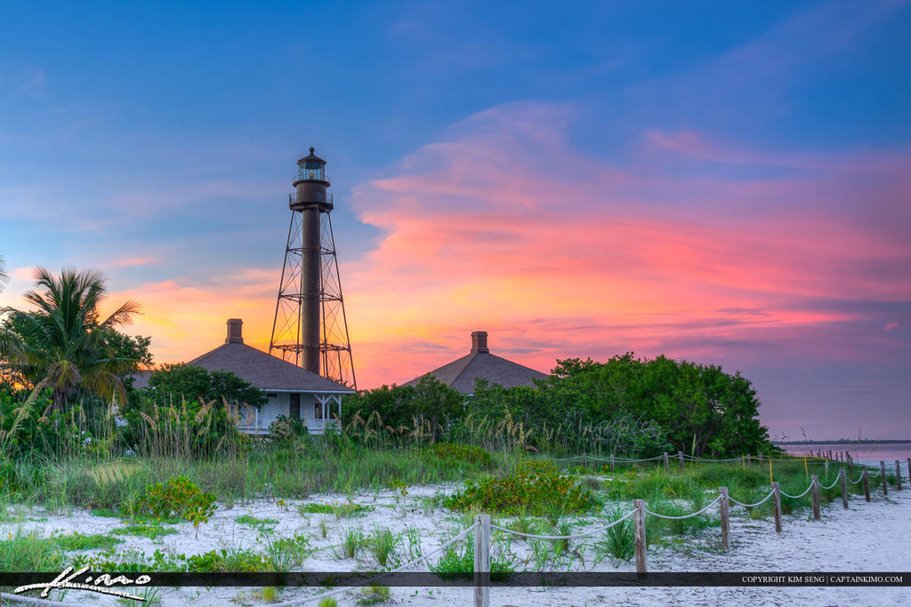 Sanibel-Lighthouse-Beautiful-Sunset-Colors by CaptainKimo