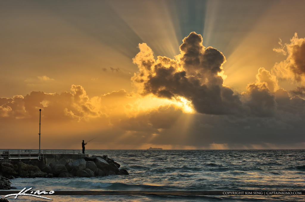 Jupiter inlet fishing at beach with sunrays by captainkimo for Jupiter inlet fishing