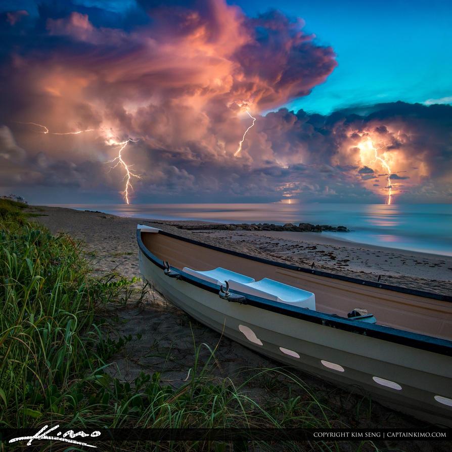 Lighting Storm Ocean