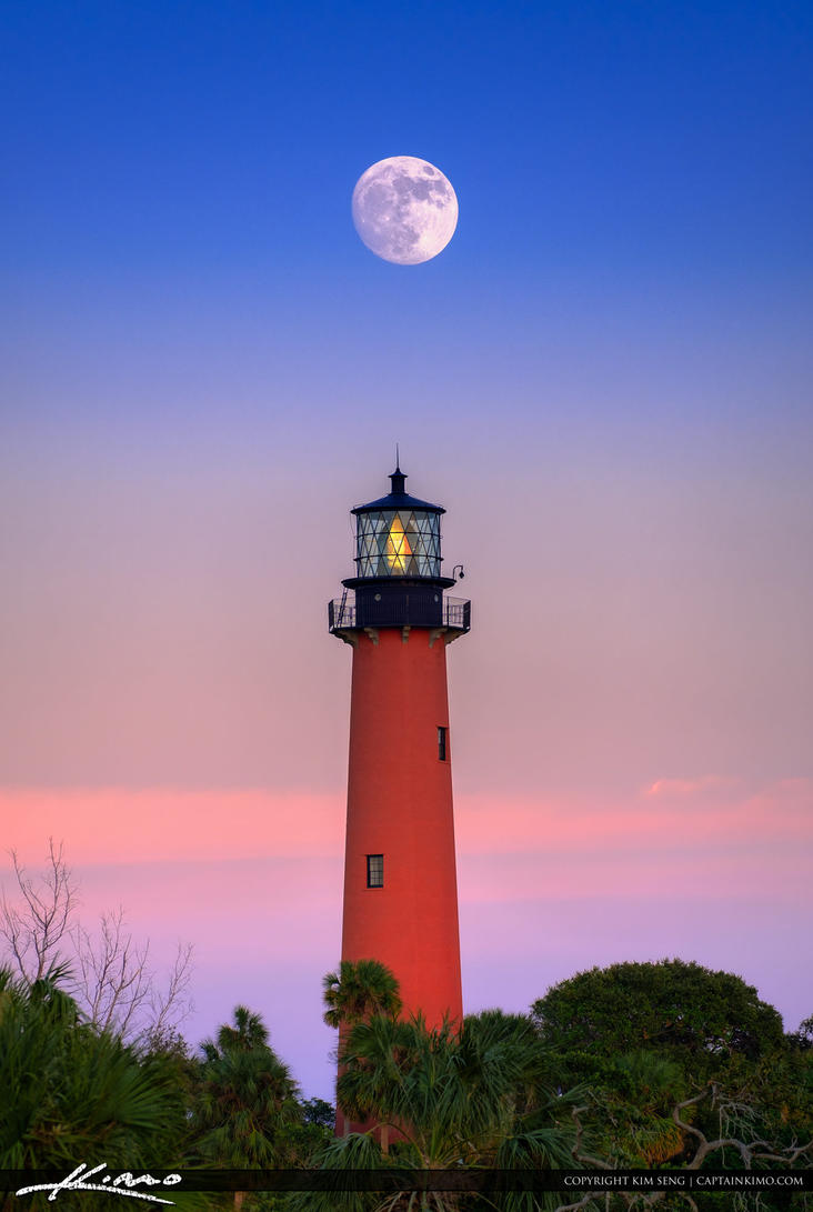 Moon-Rise-Over-Jupiter-Lighthouse-with-Pink-Sky by ...