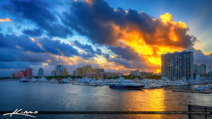 West-Palm-Beach-Marina-and-Skyline-at-Sunset