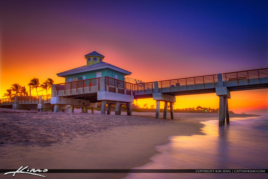 Juno-Beach-Pier-Sunset-from-Beach by CaptainKimo