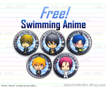 Swimming Anime 'Free!' Buttons