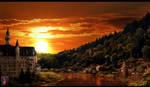 Sunset at Lake Town by JackEavesArt