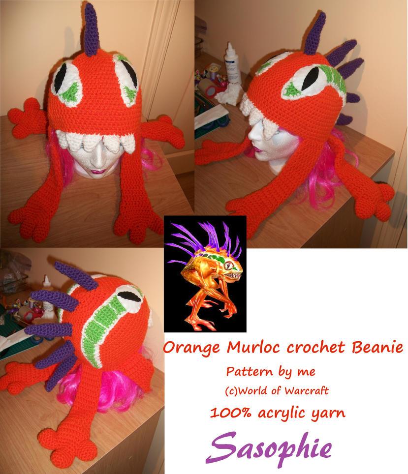 Orange Murloc crochet beanie - FOR SALE by Sasophie
