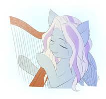Sunset Songbird playing harp