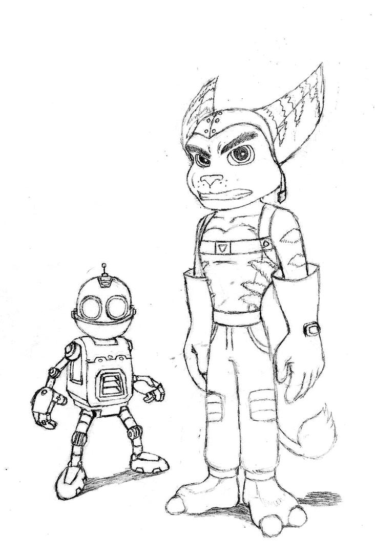 Ratchet and clank by rocketlombax on deviantart for Ratchet coloring pages