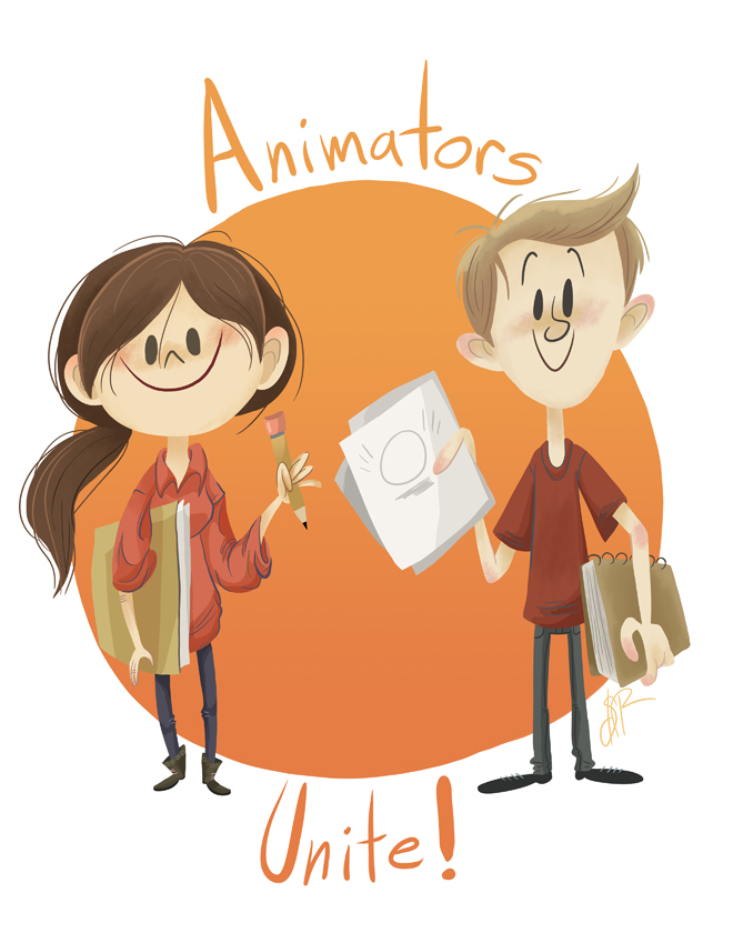 Animators Unite T-Shirt Design by happydoodle