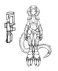 Unnamed Shooter Character Concept Sketch by ExpiredPopsicle