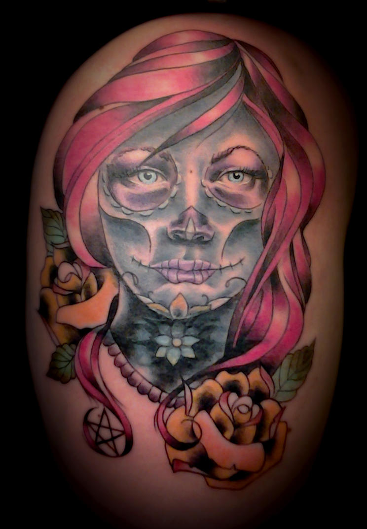 Day of dead and old tattoo by aliciaquinby on deviantart for Old school day of the dead tattoo