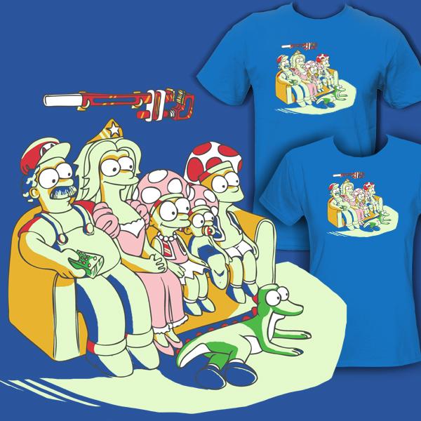 Mario as Simpsons T-Shirt by davidshenoda