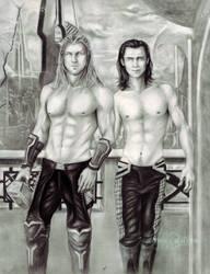 Thor And Loki In Asgard by ShonnaTheWhite