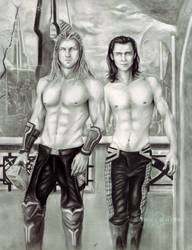 Thor And Loki In Asgard by ShonnaWhite