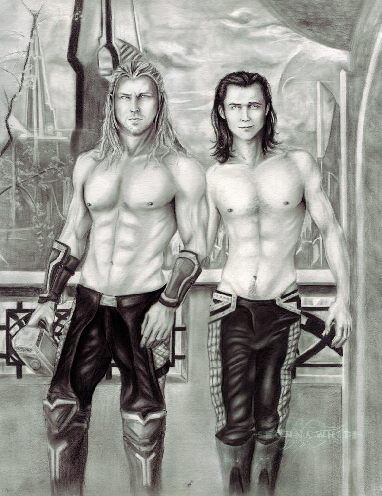 Thor And Loki In Asgard by ShonnaWhite