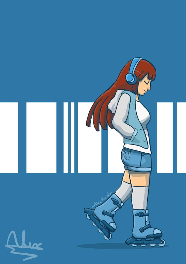 Yuko's Blue Skates by Augustusalex