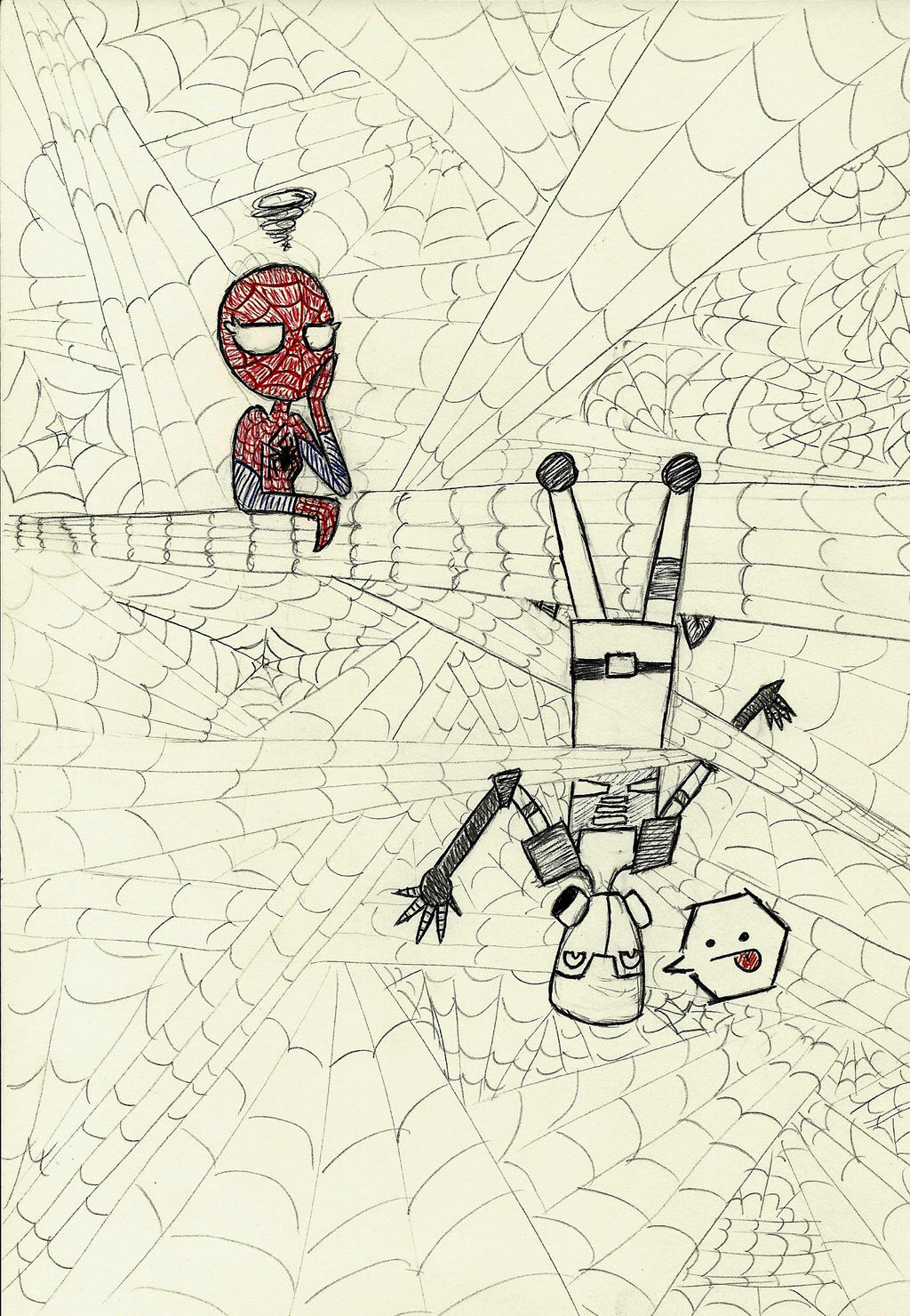 Spidey vs. Ghost pen sketch by heart-of-lithium