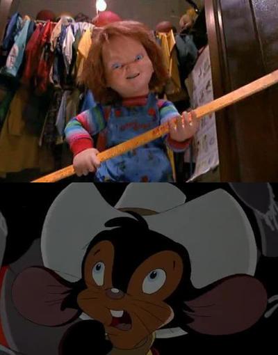 Fievel Is Scared Of The Creepy Chucky Doll by richardchibbard