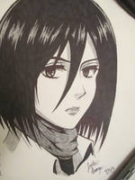 Mikasa Ackerman (Attack on Titan) [SKETCH] by JustinEugene