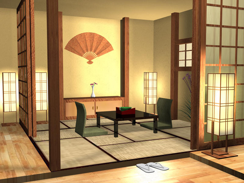 Japanese house interior by brillindeiel on deviantart for Japanese style decor