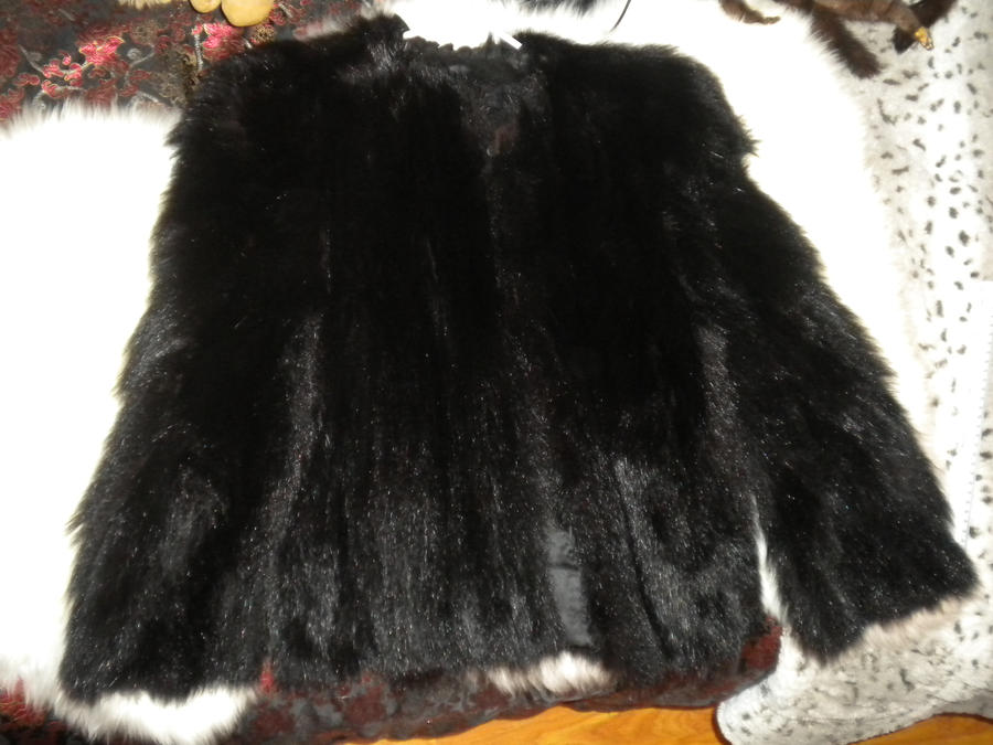 Real black bear fur coat