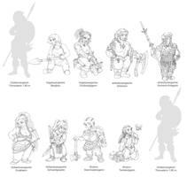 Dwarf Girls by kaffeezombie