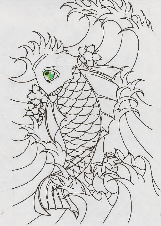 Koi Fish Outline by herooooo on DeviantArt