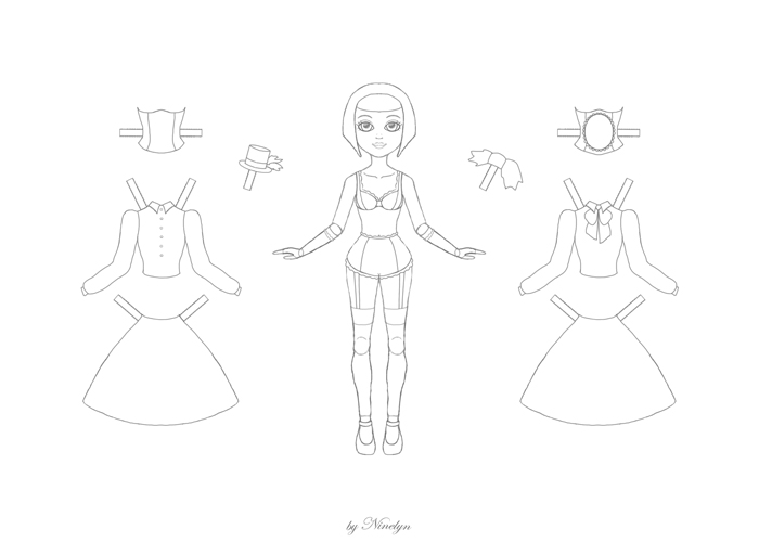 Gothic Paperdoll - Coloring Page by Ninelyn